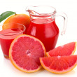 Grapefruit juice and fruit - Stock Photo