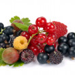 Summer ripe berries with leaves — Stock Photo