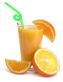 Fresh orange juice and fruits — Stock Photo