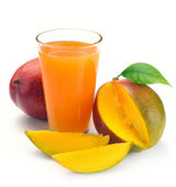 Mango juice and fruit — Stock Photo
