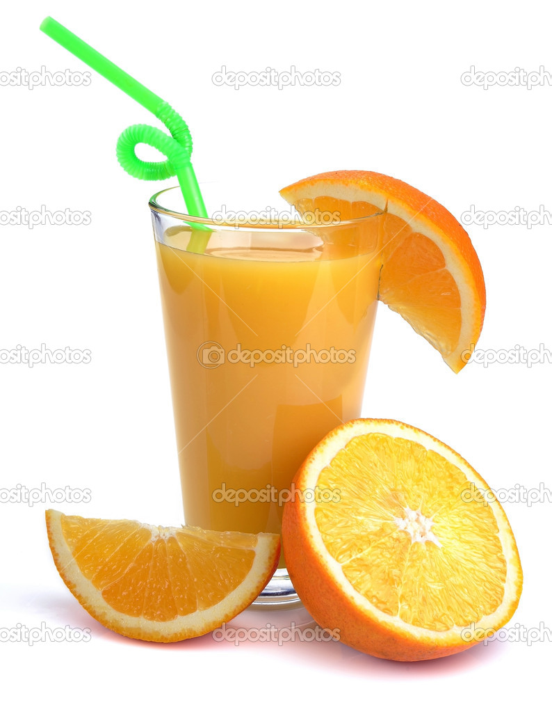 Full glass of fresh orange juice and fruits near it. Isolated on a white.  Stock Photo #6215121