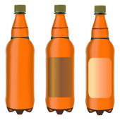 Three brown plastic bottles — Stock Vector