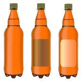 Três garrafas de plástico marrons — Vetorial Stock
