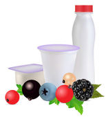 Yoghurt and berries — Stock Vector