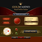 Online casino web template elements — Stock Vector