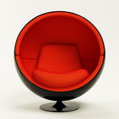 silla de la bola moderno rojo negro capullo aislada sobre fondo blanco u fotos de stock
