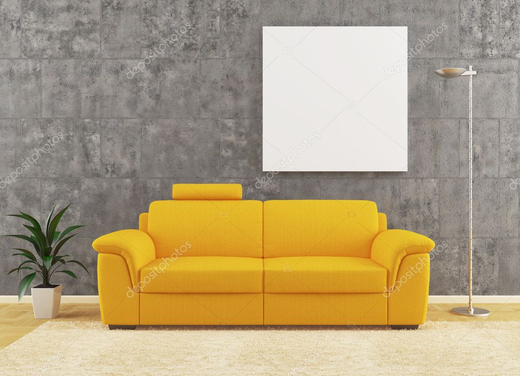 Yellow sofa on dirty wall interior design with plant and lamp — Stock Photo #6142155