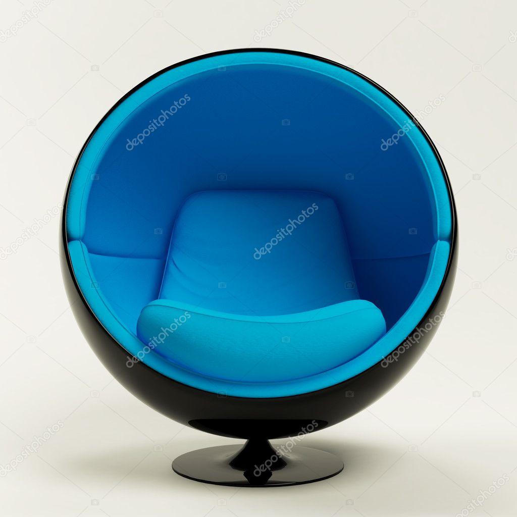 moderne blau schwarz kokon kugelsessel isoliert auf wei em hintergrund stockfoto cozm 6146870. Black Bedroom Furniture Sets. Home Design Ideas