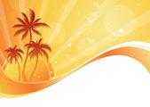 Sommartid bakgrund med palmer — Stockvektor