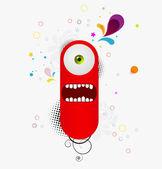 Red cartoon monster — Stock Vector
