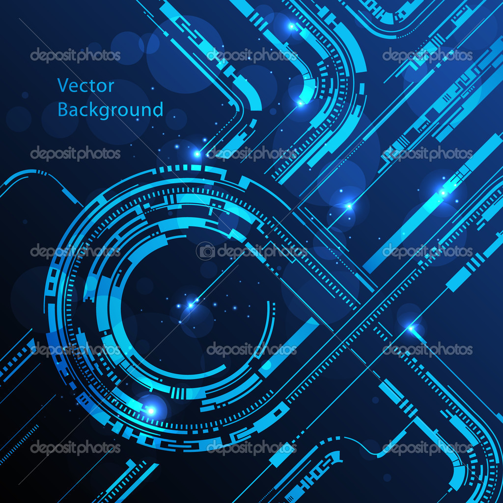 Technology Management Image: Abstract Technology Circles Lines Vector Background