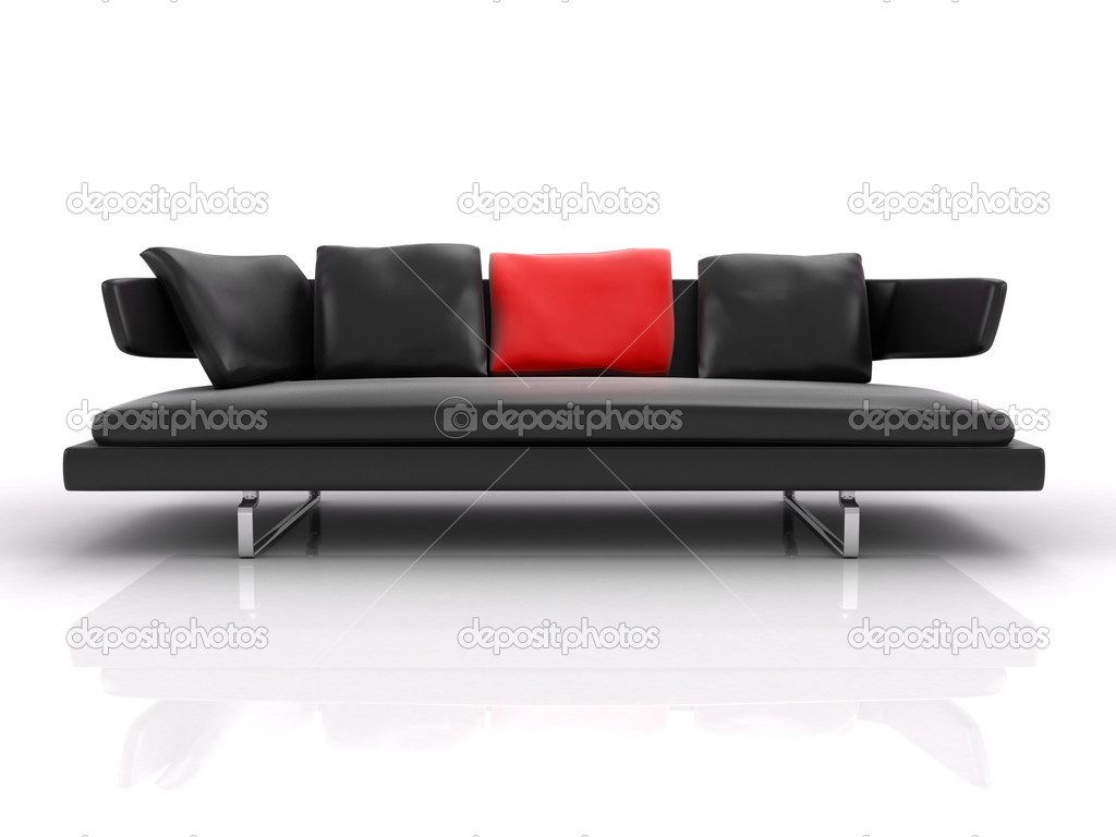 3d black leather couch with red pillow isolated on white background  Stock Photo #6318693