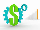 Meccanismo di soldi 3d — Foto Stock