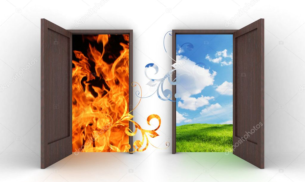 Opened doors into blue sky and fire   Stock Photo #6320149