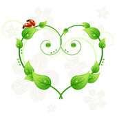 Ecology green abstract heart background with leafs and ladybirds love — Stock Vector