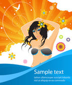 Summer template party poster with glamour girl — Stock Vector
