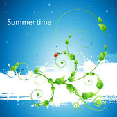 Fresh ecology summer poster background with leafs, patterns and ladybird — Stock Vector
