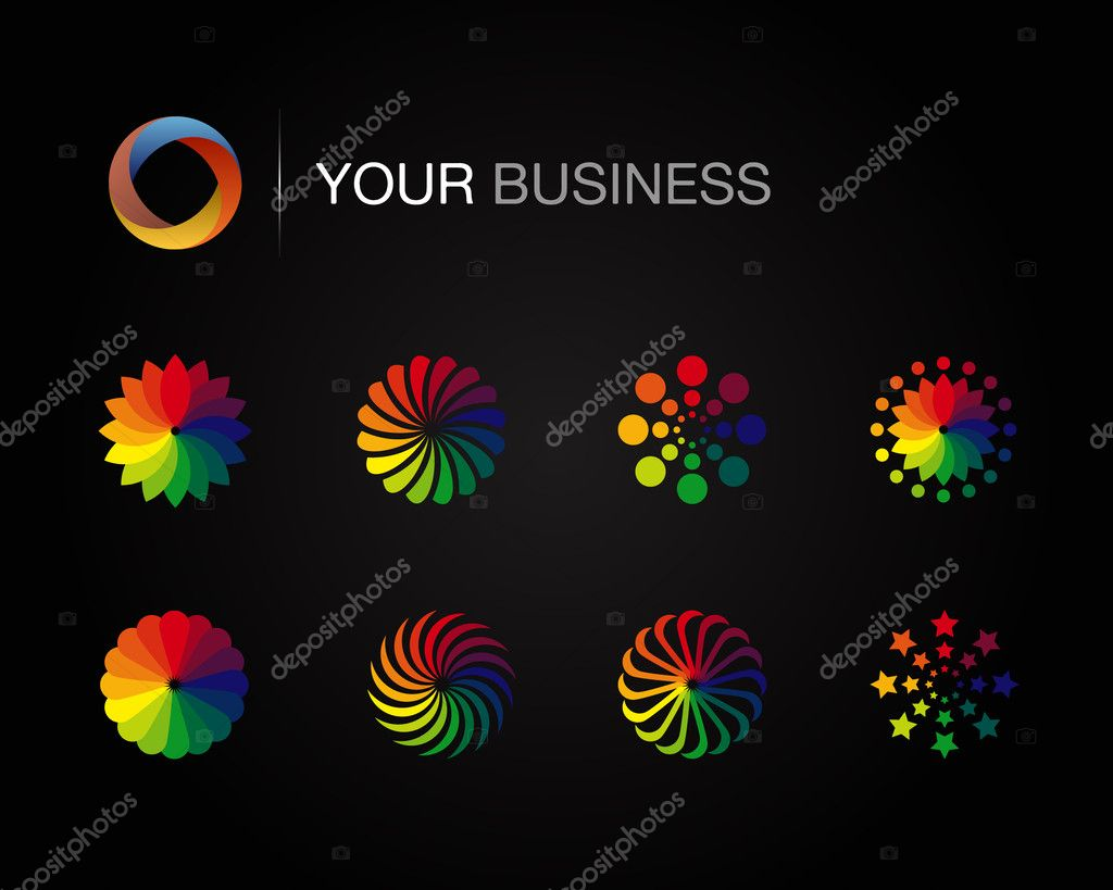 Design logo elements on black background — Stock Vector ...