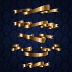 Golden royal design ribbon element on blue pattern background — Stock Vector #6361358