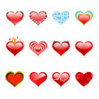 Vector set of Saint Valentine's day red hearts — Stok Vektör