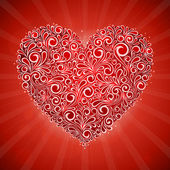 Red valentine flyer card with swirl floral pattern heart — Stock Vector