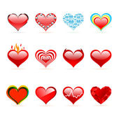 Vector set of Saint Valentine's day red hearts — Stock Vector