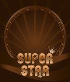 Party shield emblem super star — Stock Vector