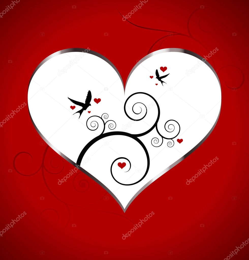 Valentin`s Day card with heart and birds  — Imagen vectorial #6360416