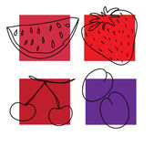 Fruits red — Vector de stock