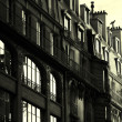 Black and white french building - sun rising - Stock Photo