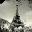 Old time eiffel tower view - Stock Photo