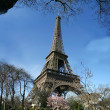 Calm sunny eiffel tower view - France - Stock Photo