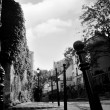 View of Paris streets - black and white - Stock Photo