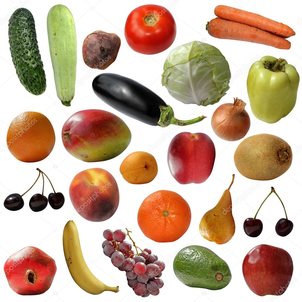 It is a lot of Fruits AND vegetables fresh isolated on a white background  Stock Photo #6307506