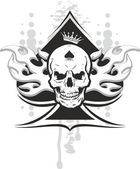 Ace of spades skull — Stock Vector