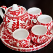 Tea set used in a Chinese wedding tea ceremony - Stock Photo