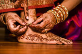 Hindu Indian wedding ceremony in a temple — Stock Photo