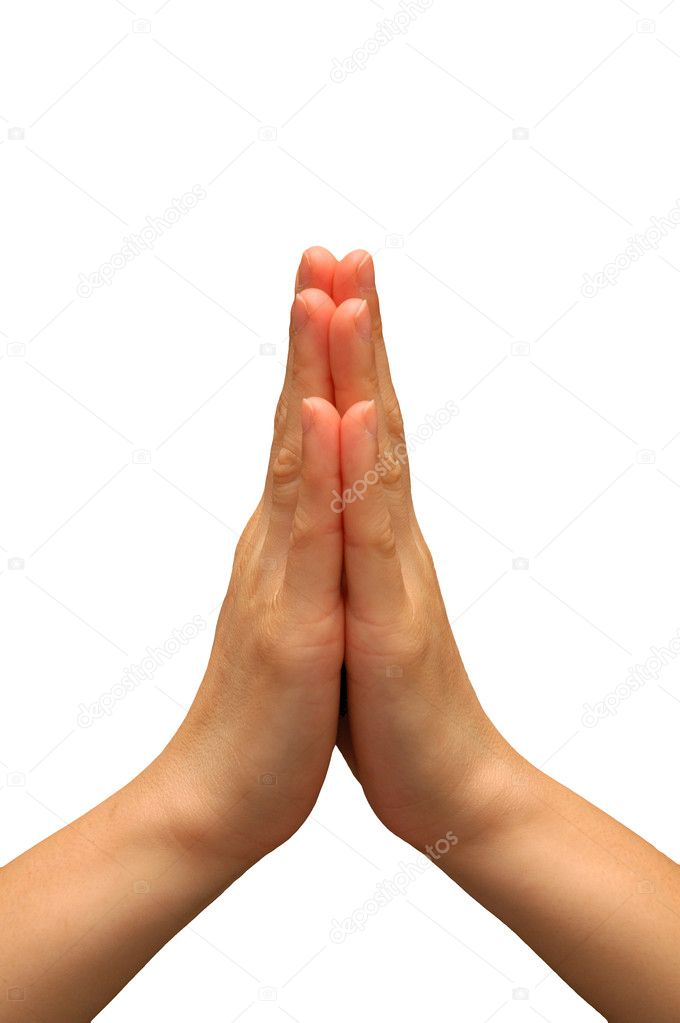 Hand gesture used during prayer isolated with white background  Stock Photo #6146548