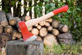 Yakacak odun doğrama, günlük ve yakacak odun için kırmızı balta — Stok fotoğraf