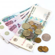 Russian money and coins on white background — Stock Photo