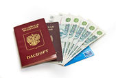 Russian money and passports on white background — Stock Photo