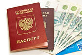 Russian money and passports — Stock Photo