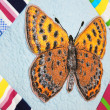 Stock Photo: Patchwork quilt with butterflies