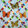 Patchwork quilt with butterflies — Stock Photo