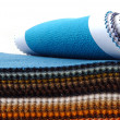 Stock Photo: Showcase of fabrics