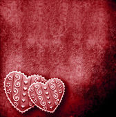 Two hearts in red background — Stock Photo