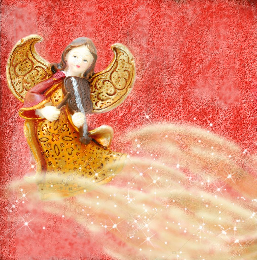 Angel of Christmas playing the violin on red background — Stock Photo #6153089