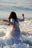 Girl in sea — Stock Photo