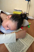 The sleeping student — 图库照片