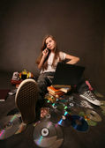 Girl with a computer — Stock Photo